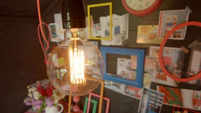 Lighting and storage solutions in Sophie Robinson's She Shed