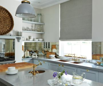 Grey kitchen roller blind