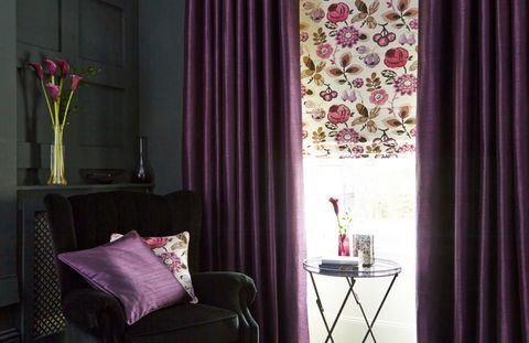 Bohemia Damson Roman blidn with Bardot Deep Purple curtains living room