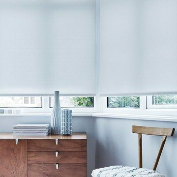 white living room roller blinds--MOSAIC-WHITE