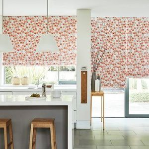 Coral Honesty Persimmon Roman Blinds in the kitchen