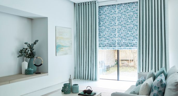 Zen-collection-Honesty-Mist-Roman-blind-with-Origami-Mist-Curtains -