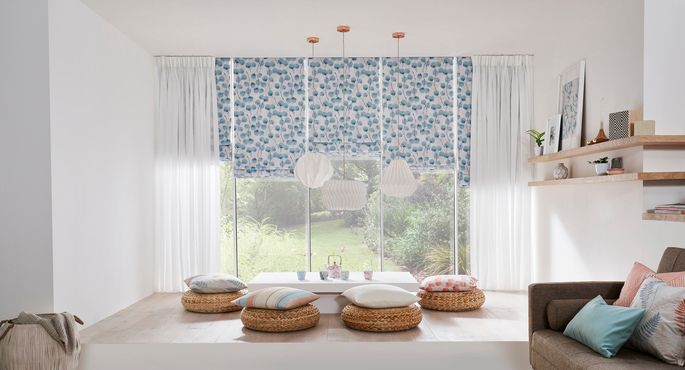 Zen-collection-Honesty-Mist-Roman-blind-with-Sheer-White-Voile-Curtains -