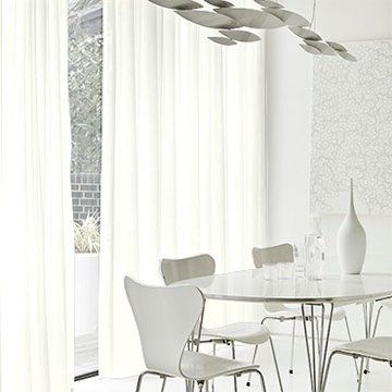 cream voile made to measure curtains in the dining room - Wisp Cream voile curtain