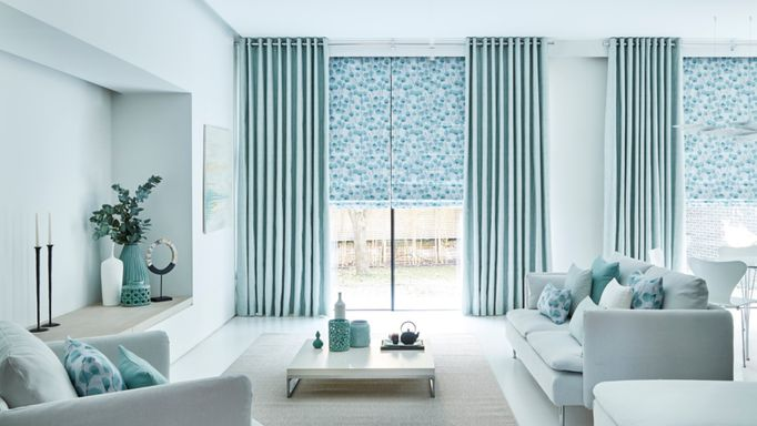 Blue Eyelet Curtain with Blue Roman Blind - Zen collection Honesty Mist Roman-blind with Origami Mist Eylet Curtains
