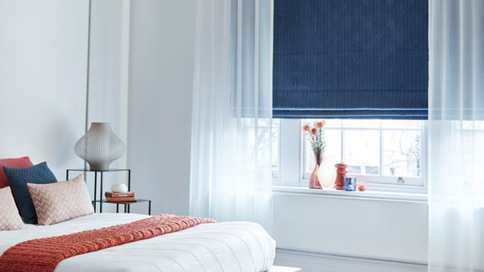 Element-Denim-Roman-blind-with-Ozone-White-Voile-curtain