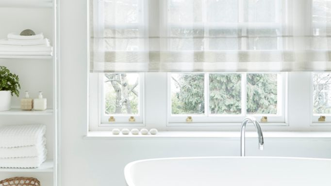 Ombre Natural Voile Roman blind