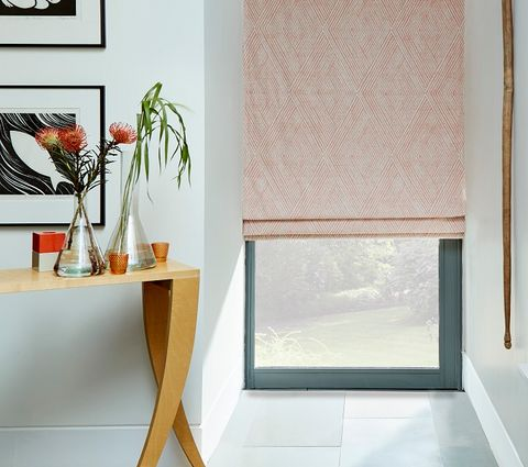 Zen Collection Origami Persimmon Fabric Pink Roman Blind