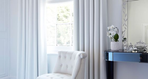 Bardot white curtains in bedroom -
