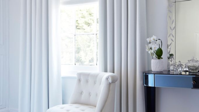 Bardot white curtains in bedroom