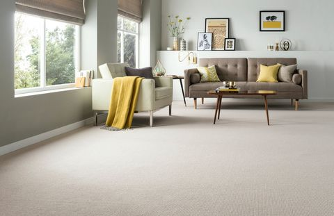 Kensington-Banquo-Stone-carpet-with-Joya-Yellow-Roller-blinds