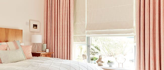 peach curtains and cream roman_bedroom_radience blossom curtains and tetbury ivory curtains