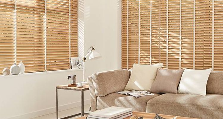 wooden blinds - february sale - cream wooden - living room- haywood java cream