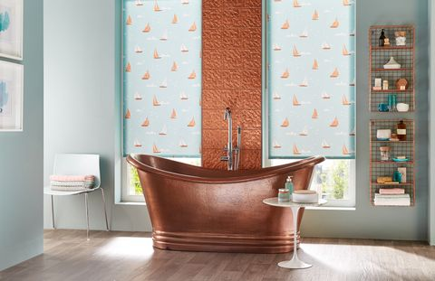 Vinyl-buying-guide-Homestyle-Flanders-Beige-Brown-with-Boats-Teal-Roller-blinds