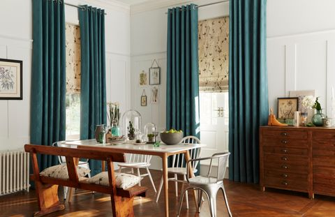 Green Eyelet Curtains in the Dining Room - Jewel Jade Green curtains