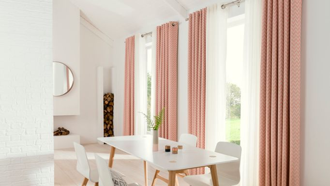 Salmon Pink Eyelet Curtains in the Dining Room - horizon salmon