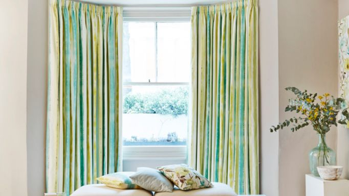Made to Measure striped Pencil Pleat Curtains in a Bay WIndow - Cascade Citrine