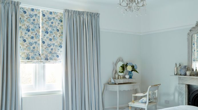 Blue Made to Measure Pencil Pleat Curtains Combined with a Roman Blind in the Bedroom