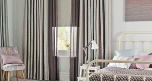 Bedroom with Anouk Blue Mist Curtains and Lyra Grey Tasia Linen Voile Curtains