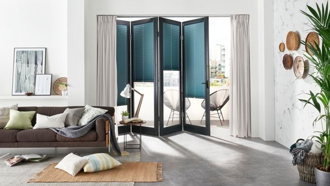 Lanbury-Teal-PerfectFit-Pleated-blinds-with-Serene-Stone-Voile-curtains