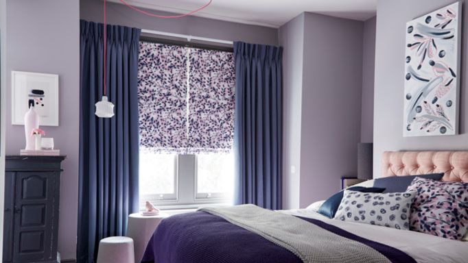 Charlotte Beevor-Grapeflower Blush-Roman-blind-with-Iris Shadow-curtains