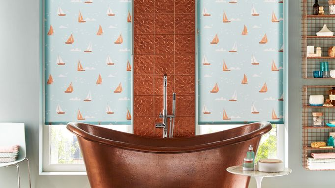 Boats Teal-Roller-blind
