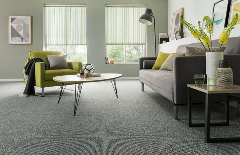 Lexi Luscious Green-Roller-blind-with-Essentials cloudburst-carpet