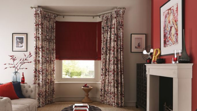 Bardot Redcurrant-roman-blind-with Bohemia Berry-curtains