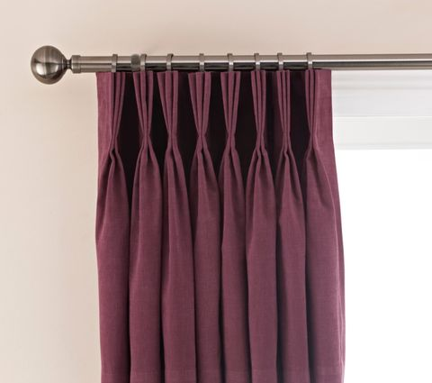 Silver Chrome Curtain Pole with Triple Pinch Pleat Burgundy Curtains