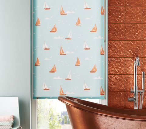 Bathroom Roller Blind in Teal with Boats Print