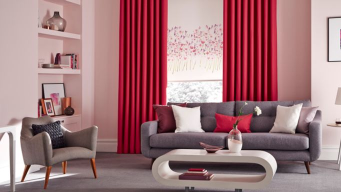 Bardot Fuschia curtains with Freeda Violet roller blind