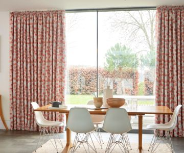 Floral Pencil Pleat Made to Measure Curtains in the Dining Room - Honesty Persimmon Pencil Pleat Curtain Fabric
