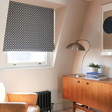 Black roman blind-study-Eclipse denim