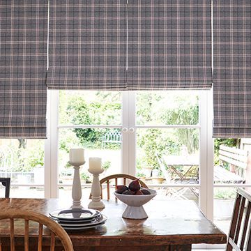 Grey roman blind-dining-Wallace cranberry