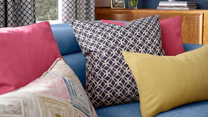 Sophie Robinson colour clash cushions close up