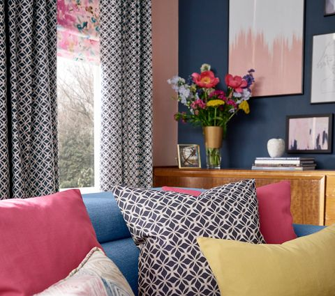 Colourful Living Room Set with Eclipse Denim Curtains and Caprice Paradise Roman Blinds with matching cushions