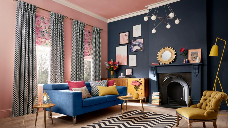 Get A Colour Clash Look With Curtains And Roman Blinds