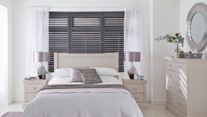 Grey Shutters with Wisp White Voiles