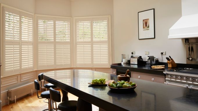 Crisp Linen Full-height Shutters