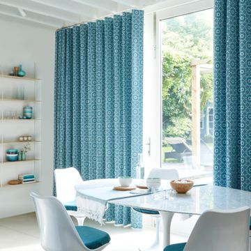 Wave heading curtains Mosaic Tile Turquoise