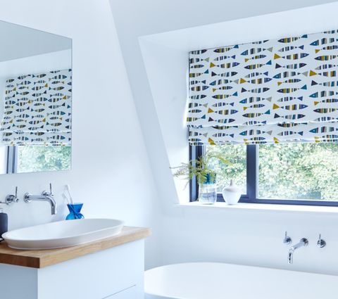 Bathroom Roman Blind in Little Fish Marine Blue Print with sink and mirror