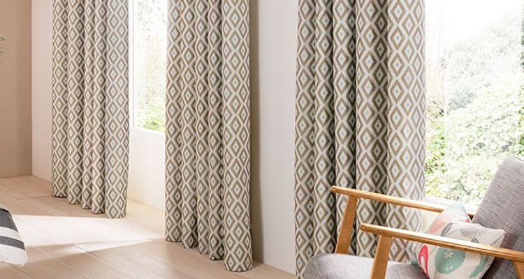 Grey Patterned Curtain in the bedroom - Laverne Glacier Grey Curtain Fabric