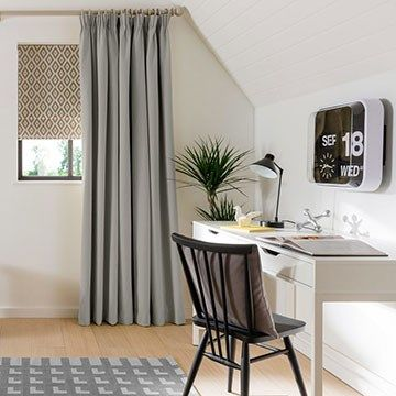 Grey Curtains and Grey Roman Blinds in a study - Tetbury Smoke Curtains and Laverne Glacier Roman Blind