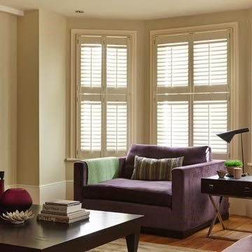 Cream Tier-on-tier window shutters