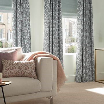 Grey Patterned Curtains  in the lounge - Folia Sky Haze Grey Curtain Fabric