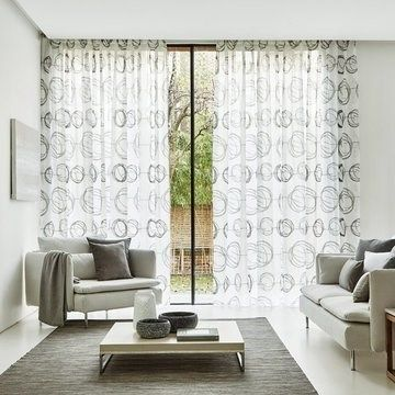 Grey Voile Curtains in a Living room - Made to Measure Grey Swirl Dusk Voile Curtain