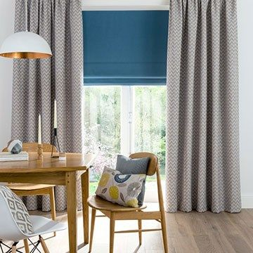 Grey Curtains in the Dining room with a Blue Roman Blind - Grey Horizon Mist Made to Measure Curtains