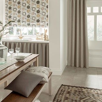 Grey Curtains with a patterned Roman Blind - Horizon Mist Grey Curtains with Freyja Flint Roman Blind