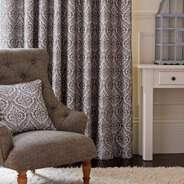 Grey Curtains in the Living Room - Kashmir Silver Grey Made to Measure Curtains