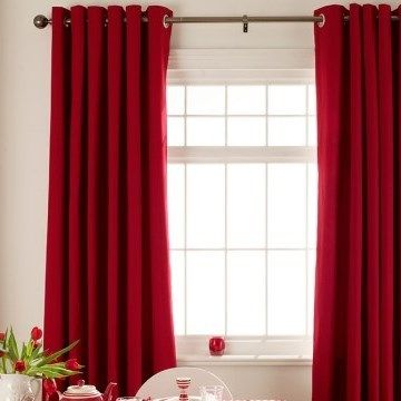 Red Eyelet Curtains in the Dining Room - Tetbury Red Made to Measure Eyelet Curtains